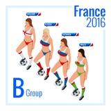 Campeonato europeo del fútbol en el grupo B de Francia Ejemplo isométrico del vector plano 3d libre illustration