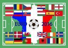 Campeonato europeo en el fútbol 2016 en Francia Imagen de archivo libre de regalías