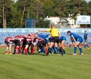 Campeonato europeo Ucrania - Noruega, rugbi fotografía de archivo