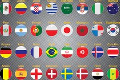 Campeonato mundial Bandeiras do vetor do país 2018 em Rússia ilustração stock