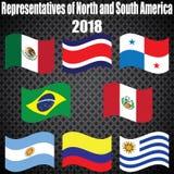 Campeonato mundial Bandeiras do vetor do país 2018 em Rússia ilustração royalty free