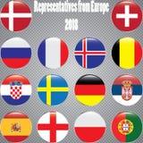 Campeonato mundial Bandeiras do vetor do país 2018 em Rússia Fotos de Stock Royalty Free