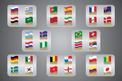 Campeonato mundial Bandeiras do vetor do país 2018 em Rússia Fotos de Stock