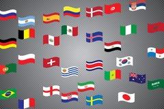 Campeonato mundial Bandeiras do vetor do país 2018 em Rússia Fotografia de Stock