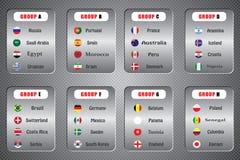 Campeonato mundial Bandeiras do vetor do país 2018 em Rússia Fotografia de Stock Royalty Free