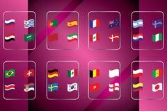 Campeonato mundial Bandeiras do vetor do país 2018 em Rússia Imagens de Stock