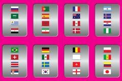 Campeonato mundial Bandeiras do vetor do país 2018 em Rússia Imagens de Stock Royalty Free
