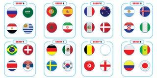 Campeonato mundial Bandeiras do vetor do país 2018 em Rússia Imagem de Stock Royalty Free