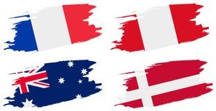 campeonato mundial 2018 do futebol Ajuste bandeiras do grupo C - França, Austrália, Peru, Dinamarca Fotografia de Stock