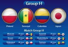Campeonato Rússia 2018 do futebol do grupo H do fósforo Foto de Stock