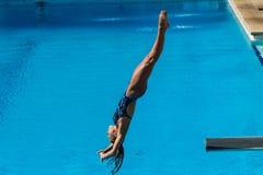 Campeonatos del salto de la piscina de la muchacha fotos de archivo libres de regalías