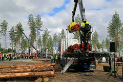 Campeonatos finlandeses en el registro que carga 2014 en FinnMETKO 2014 Fotos de archivo libres de regalías