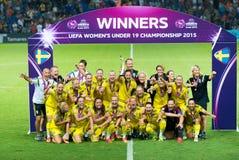 Campeones del europeo del equipo nacional del fútbol de Suecia Imagenes de archivo