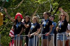 Campeones del mundial de la FIFA - equipo de fútbol nacional de las mujeres de los E.E.U.U. Imagen de archivo