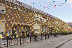 Campeones europeos del fútbol de las decoraciones de la calle Imágenes de archivo libres de regalías