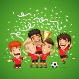 Campeones felices del fútbol con la taza de los ganadores ilustración del vector