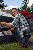Camper à l'extérieur Images stock