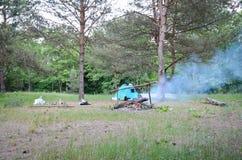 Camper à la forêt photos libres de droits