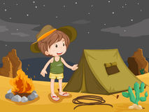 Camper. Illustration of boy camping in the desert stock illustration