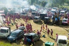 Camper après festival de Haro Wine Festival Photographie stock