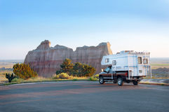 Camper in the Badlands Royalty Free Stock Images