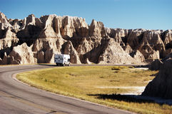 Camper in the Badlands. Vacationing in a recreational vehicle in the Badlands National Park Royalty Free Stock Images