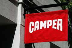 Camper banner stock photo