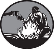 Camper Campfire Cup of Coffee Circle Woodcut Stock Photography
