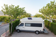 Camper on a camping site Stock Image