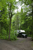 Camper on campsite Stock Image