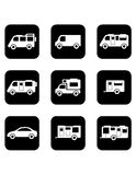 Camper car black icons set Royalty Free Stock Photography