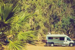 Camper car on nature Stock Images