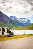 Camper car in norwegian mountains. Tourism vacation and travel. Camper van car in norwegian mountains Royalty Free Stock Photos