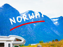 Camper car in norwegian mountains Royalty Free Stock Images