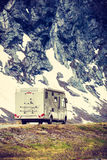 Camper car in norwegian mountains Royalty Free Stock Photos