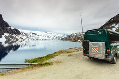 Camper car in norwegian mountains Stock Image