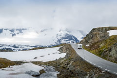 Camper car at road 55, Sognefjellet, Norway Royalty Free Stock Images