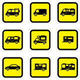 Camper car yellow icon set Royalty Free Stock Image