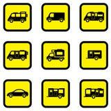 Camper car yellow icon set Royalty Free Stock Image