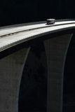 Camper crossing high level bridge. A recreational vehicle crossing a very high bridge on the Trans Canada Highway in British Columbia, Canada Stock Photo