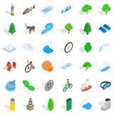 Camper dans des icônes de nature a placé, style isométrique Image stock