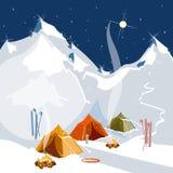 Camper dans des tentes en tourisme de montagnes illustration libre de droits