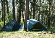 Camper dans la forêt photo stock