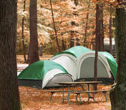 Camper dans les bois Photo stock