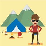 Camper de jeune homme Style plat d'illustration de vecteur d'été de voyage de concept illustration stock
