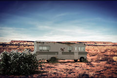 Camper in the desert Stock Photography
