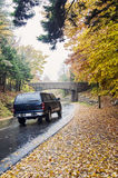 Camper driving in Acadia National Park royalty free stock photography