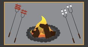 Camper faisant cuire des images illustration libre de droits