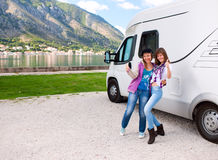 Camper Girls Stock Photo