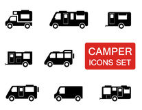 Camper icon set Stock Image